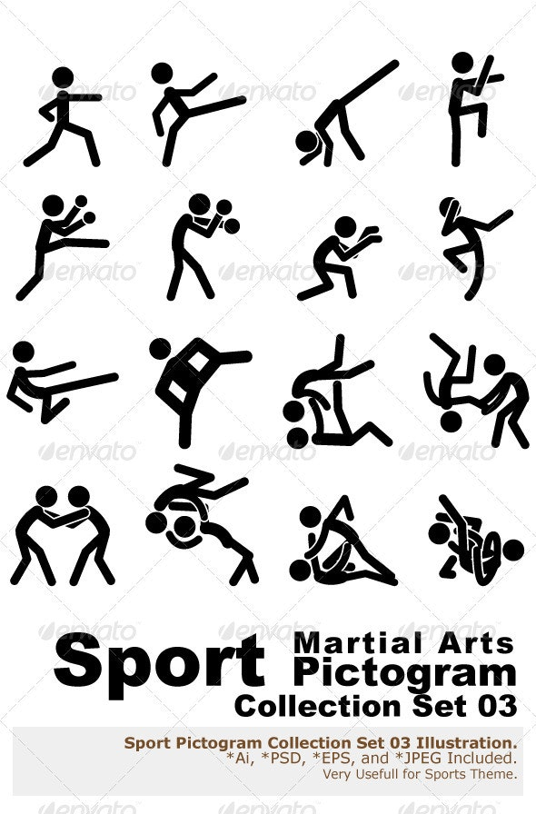 Sport Pictogram Icon Set 03 Martial Arts - Sports/Activity Conceptual