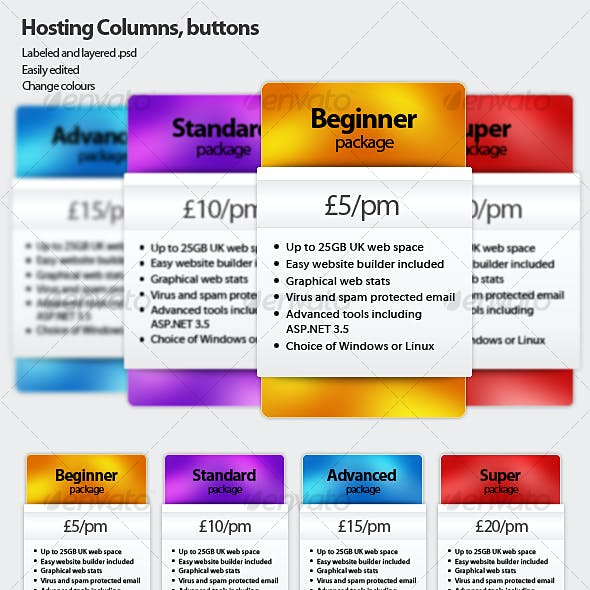Hosting price columns, buttons