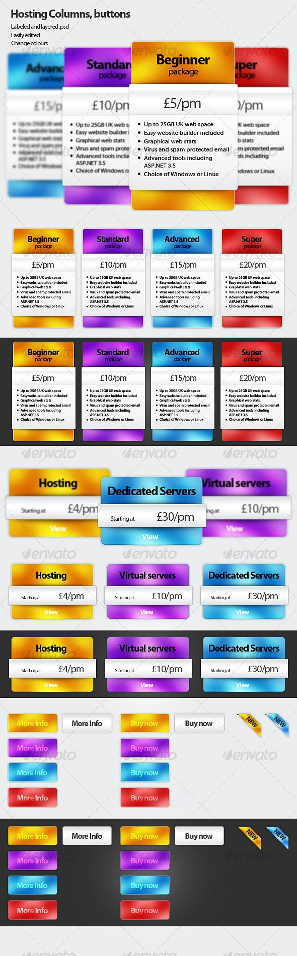 Hosting price columns, buttons - Web Elements