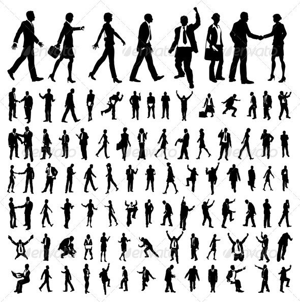 Very many high quality business people silhouettes - Business Conceptual