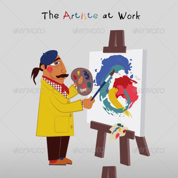 Artist Painting at Easel; Blank Canvas