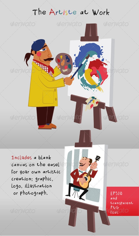 Artist Painting at Easel; Blank Canvas - People Characters
