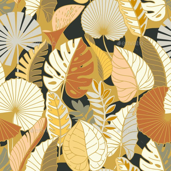 Seamless Pattern with Colorful Tropical Leaves