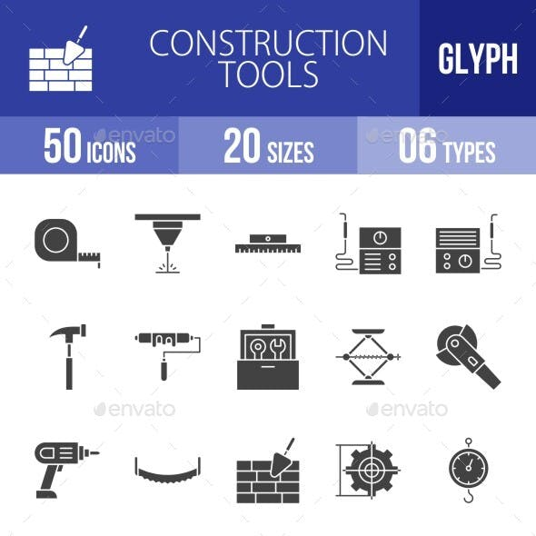 Construction Tools Glyph Icons