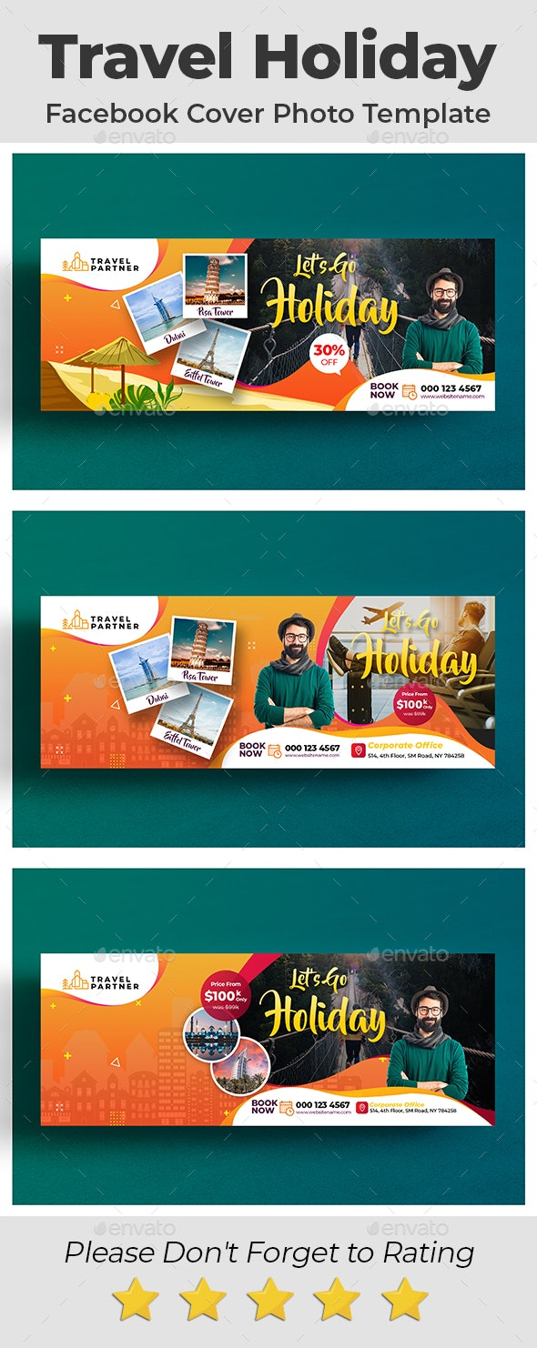 Travel Holiday Facebook Cover Photo Template - Facebook Timeline Covers Social Media