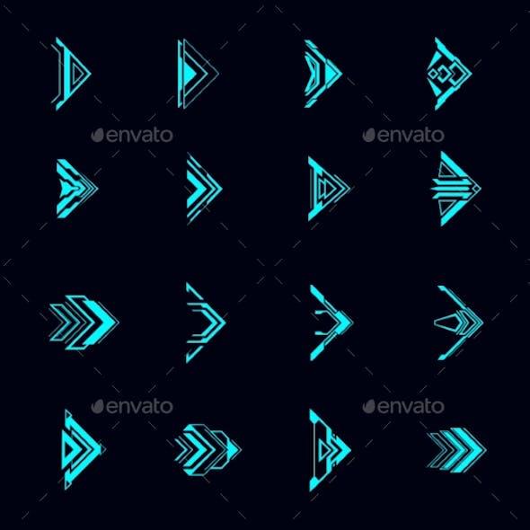 Hud Arrows Futuristic Navigation Pointers Set
