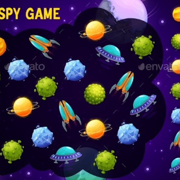Kids I Spy Game with Space Ships and Planets