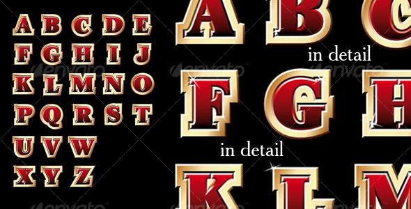Golden style alphabet - Decorative Symbols Decorative