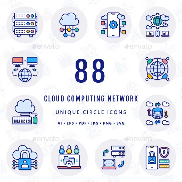 Cloud Computing Network Unique Circle Icons