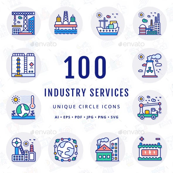 Industry Services Unique Circle Icons