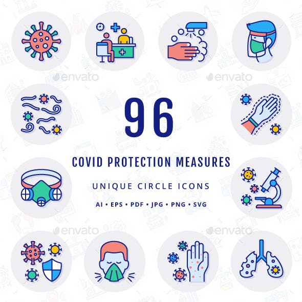 COVID Protection Measures Unique Circle Icons