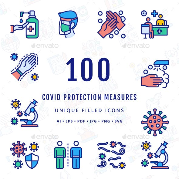 COVID Protection Measures Unique Filled Icons