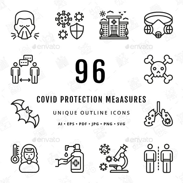 COVID Protection Measures Unique Outline Icons
