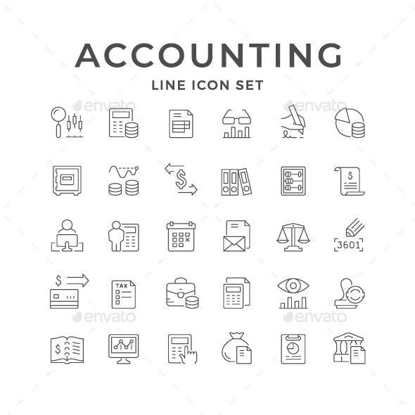 Set Line Icons of Accounting