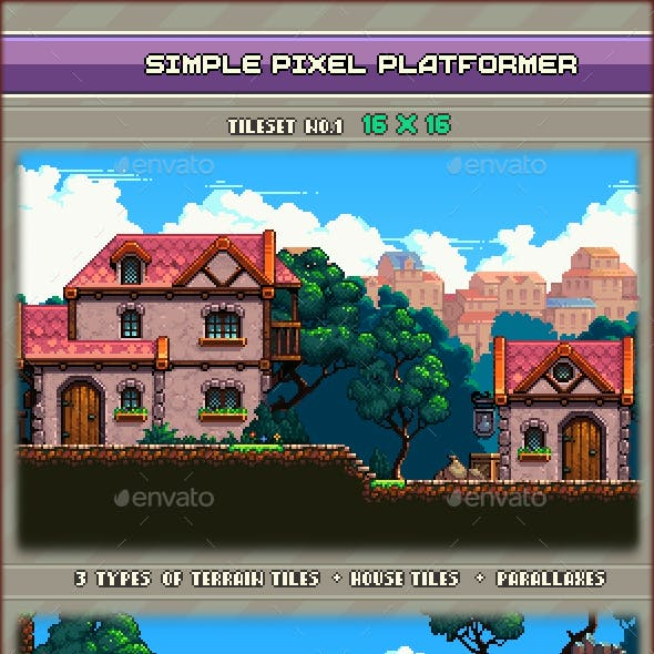 Simple Pixel Platformer Tileset #1