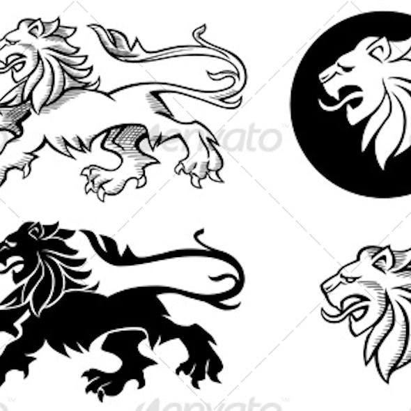 Heraldic Lion Silhouette