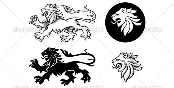 Heraldic Lion Silhouette - Tattoos Vectors