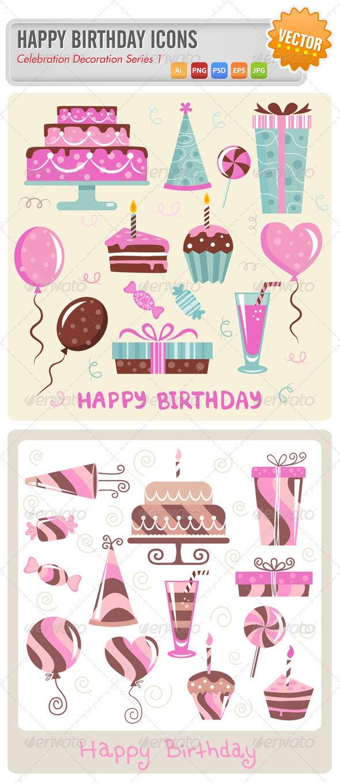 Birthday Vector Icons Set - Birthdays Seasons/Holidays