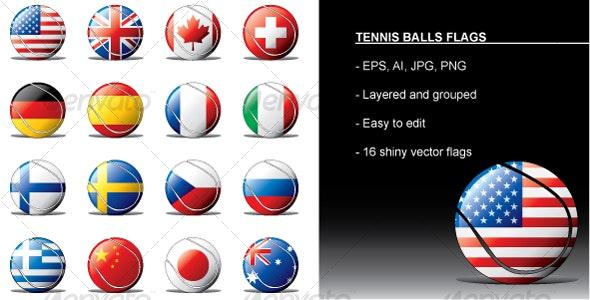 Tennis Balls Flags - Objects Vectors