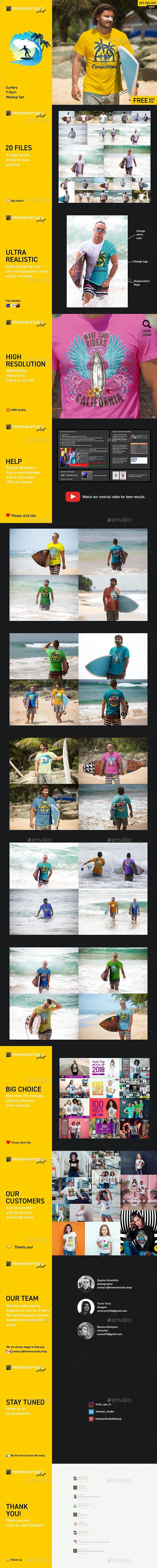 Surfers T-Shirt Mock-Up Set - Product Mock-Ups Graphics