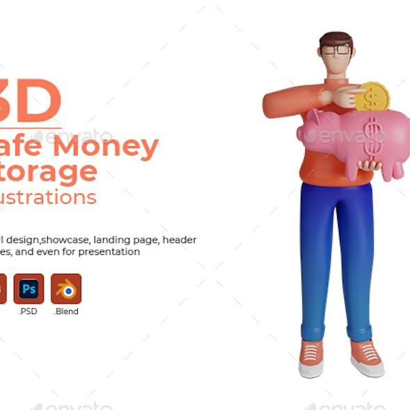 Safe money storage concept