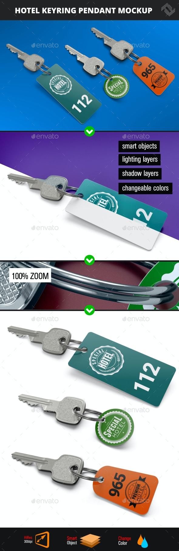 Hotel Keyring Pendant Mockup - Product Mock-Ups Graphics