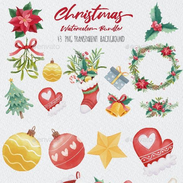 Watercolor Christmas Clipart Bundle