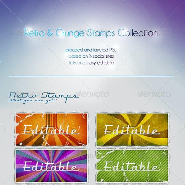 Retro Social Stamps