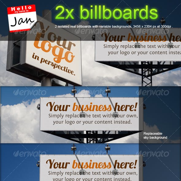 Set of 2 billboards for product/logo mockup