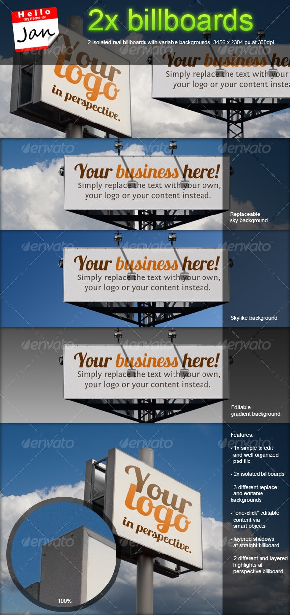 Set of 2 billboards for product/logo mockup - Signage Print