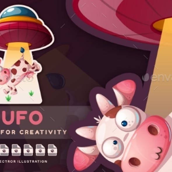 Cute Cow and Ufo  Childish Sticker