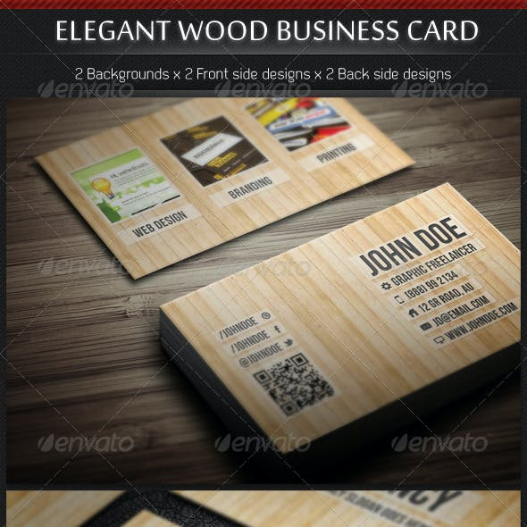 Elegant Wood Business Card Template