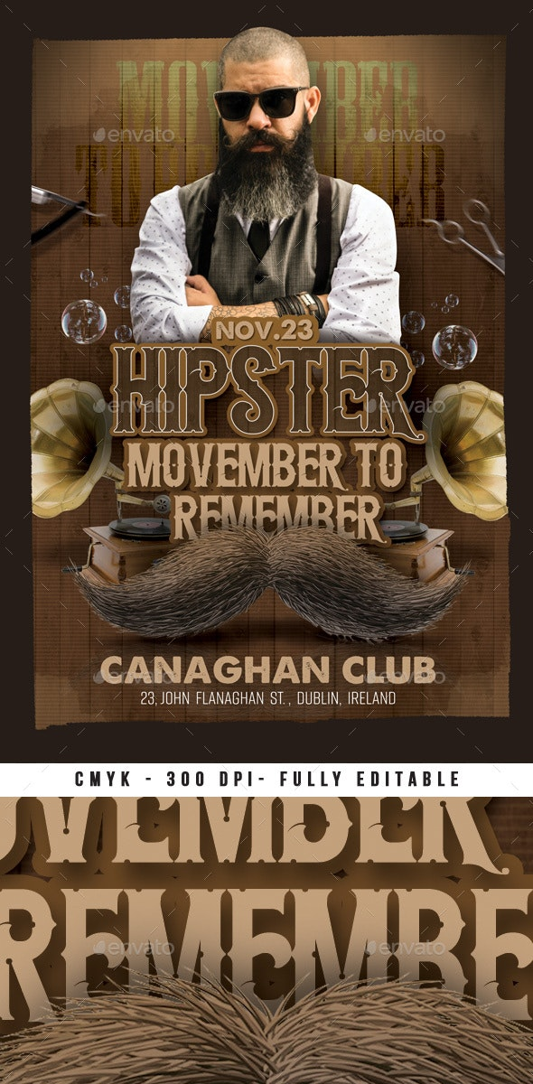 Hipster Movember To Remember - Events Flyers