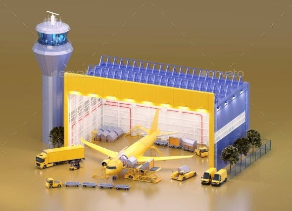 Loading Unit Load Devices on Cargo Airplane - Technology 3D Renders