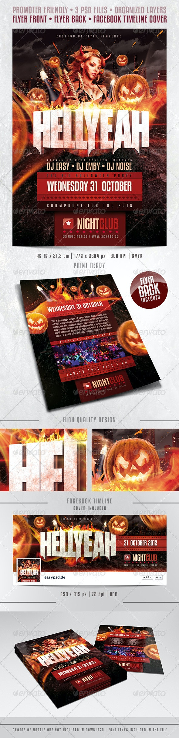HELLYEAH Flyer Template - Clubs & Parties Events