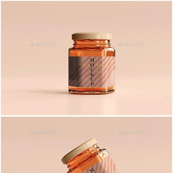 Amber Glass Jar Mockup