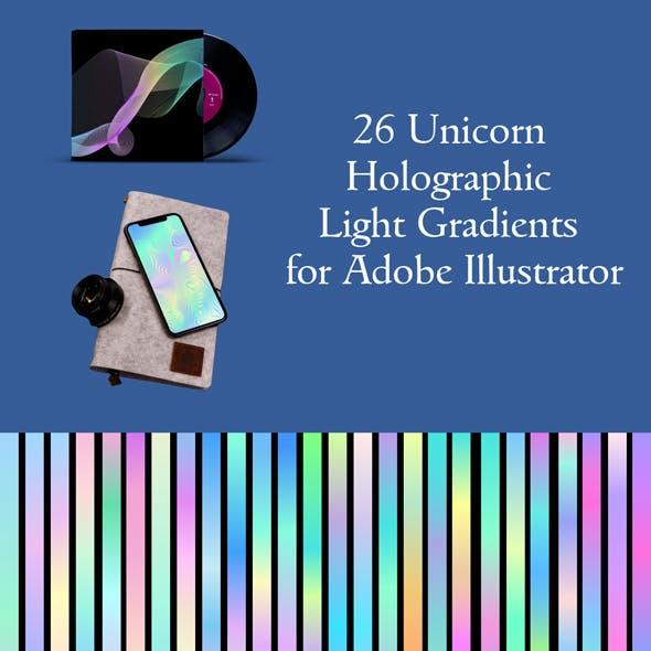26 Unicorn Holographic Light Gradients for Adobe Illustrator