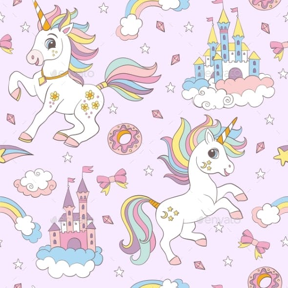 Seamless Vector Pattern with Cute Unicorns