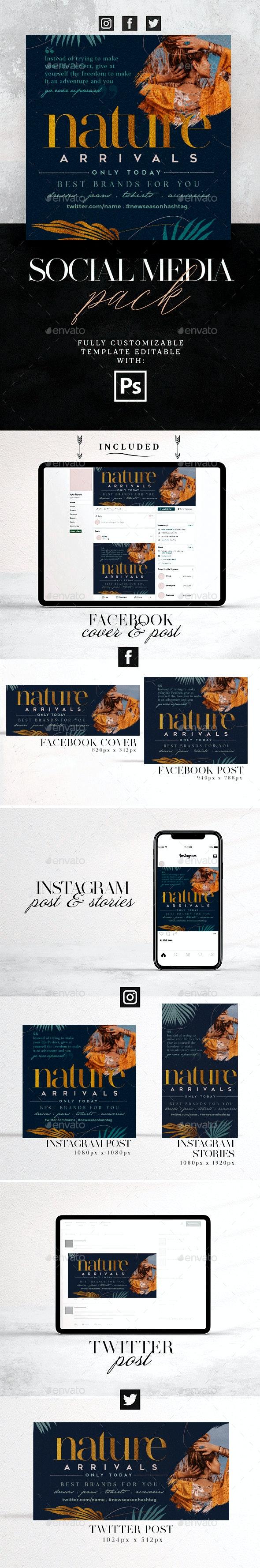 Nature Social Media Pack - Social Media Web Elements