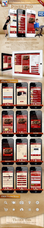 Diner Pro iOS Phone 5 + iPad Retina HD Restaurant - User Interfaces Web Elements