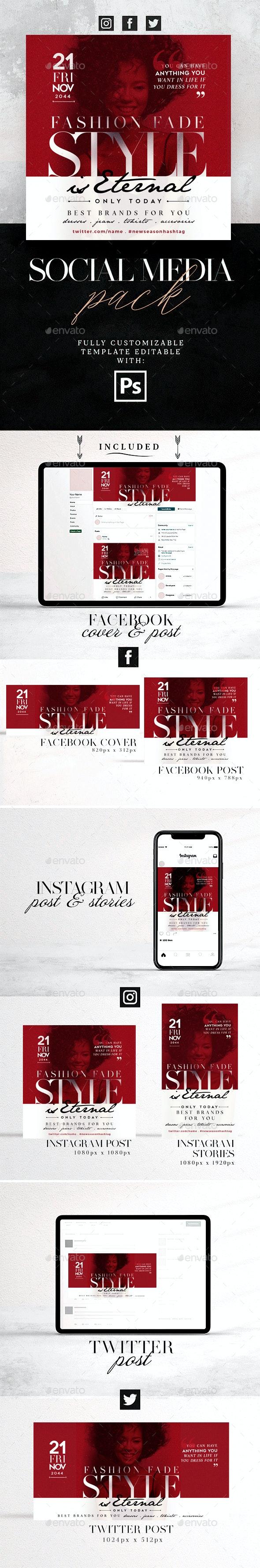 Style Is Eternal Social Media Pack - Social Media Web Elements