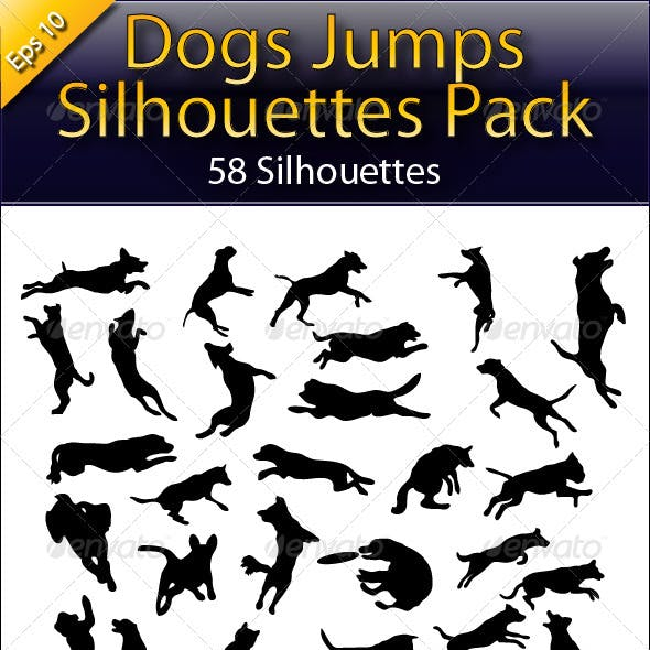 Dog Jump Silhouettes
