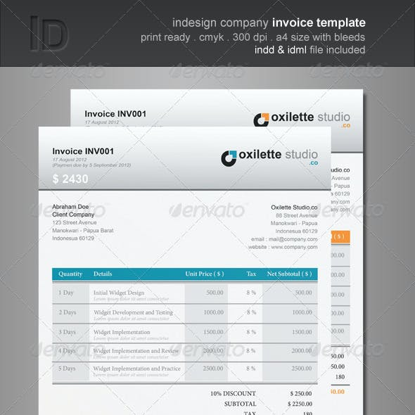 Invoice Template Indesign Graphics Designs Templates
