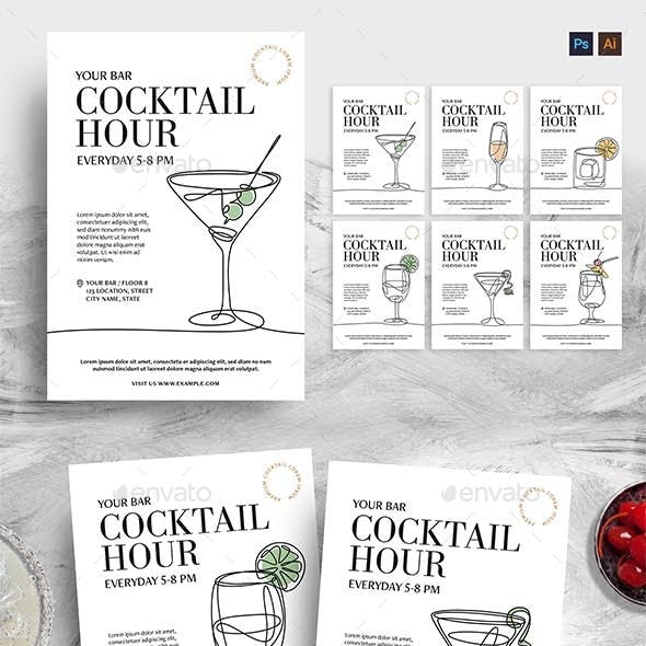 Cocktail Flyers with Continuous Line Illustrations