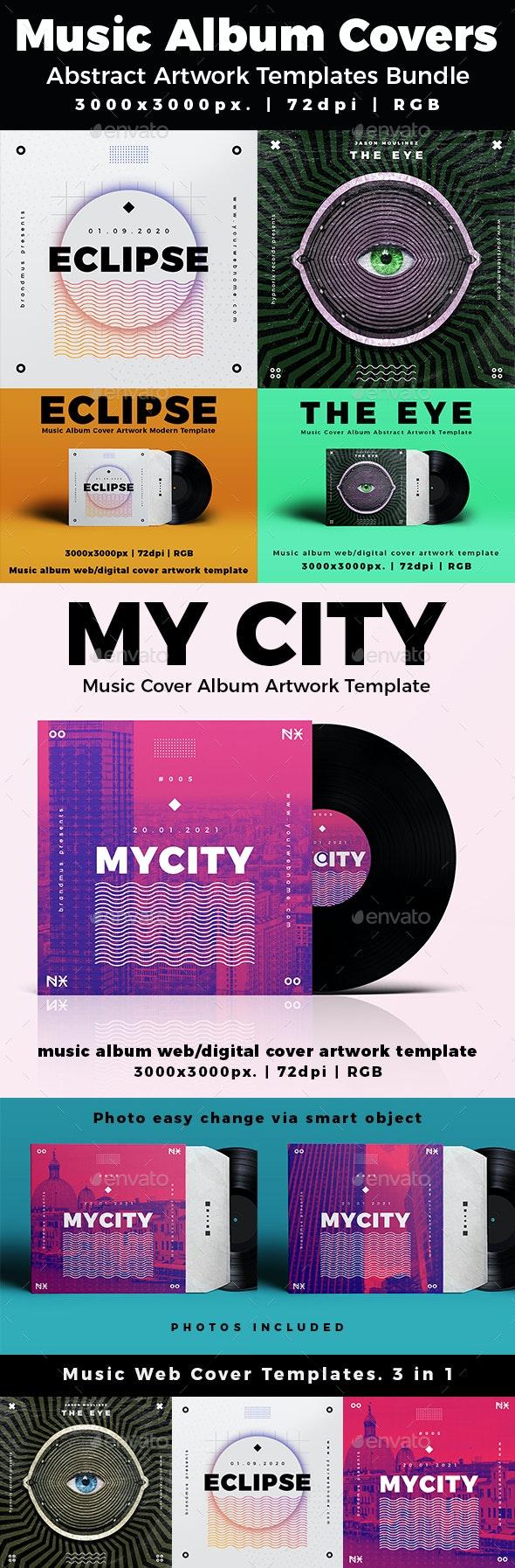 Music Album Cover Abstract Artwork Templates Bundle - Miscellaneous Social Media
