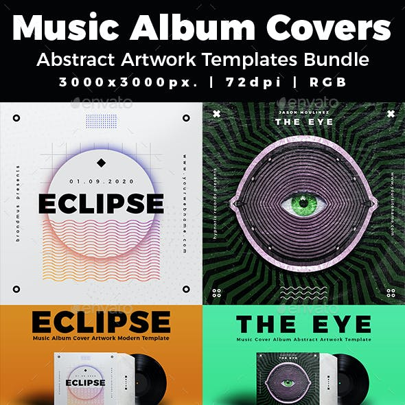 Music Album Cover Abstract Artwork Templates Bundle