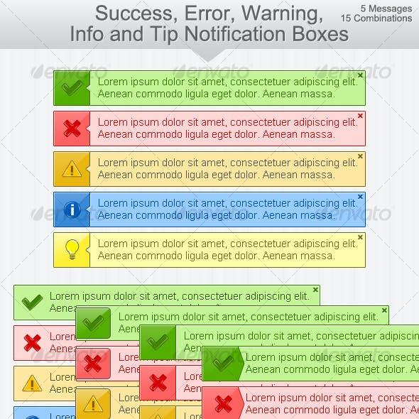 Ok, Error, Warning, Info & Tip Notification Boxes