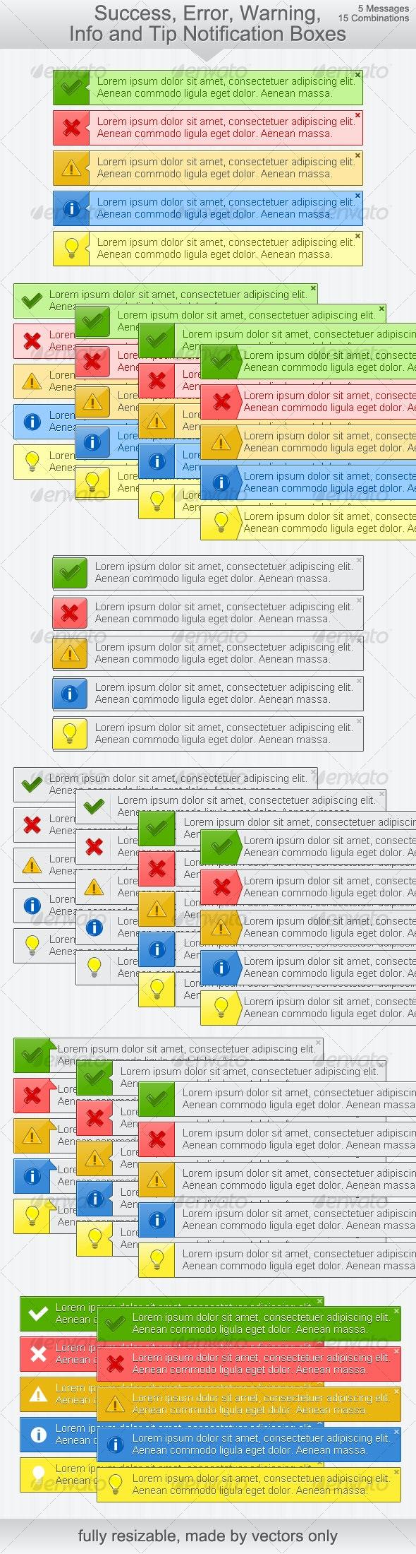 Ok, Error, Warning, Info & Tip Notification Boxes - Web Elements