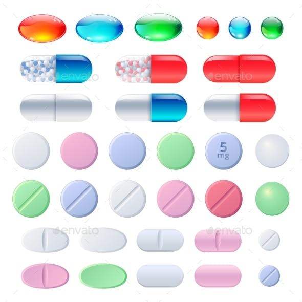 Pills Tablets and Medicine Drugs Capsules Set