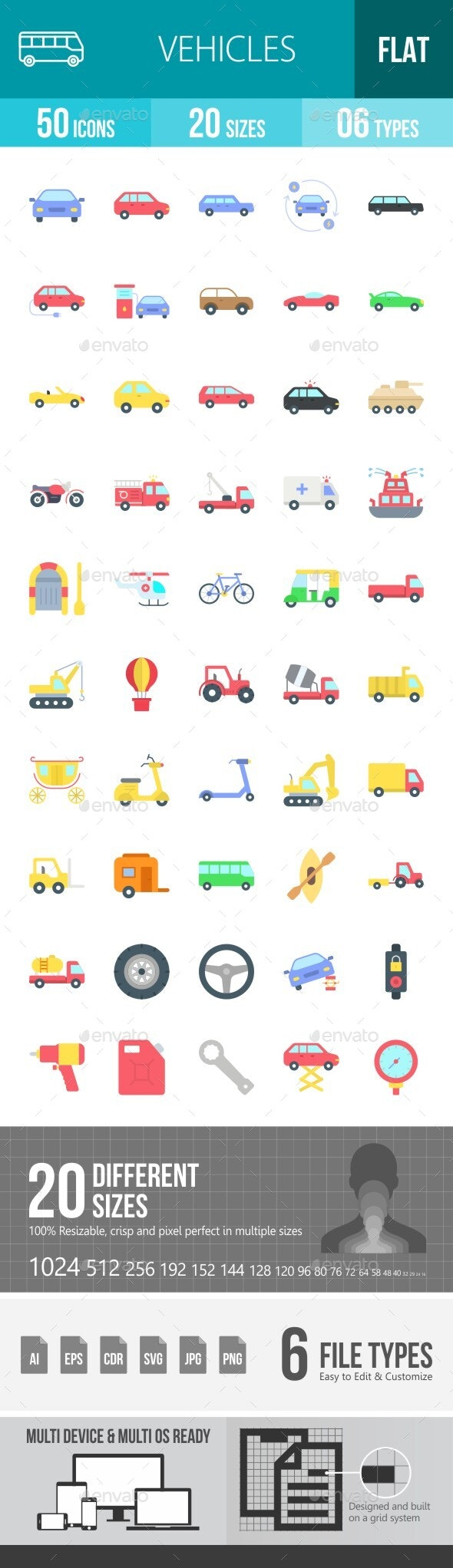 Vehicles Flat Multicolor Icons - Icons